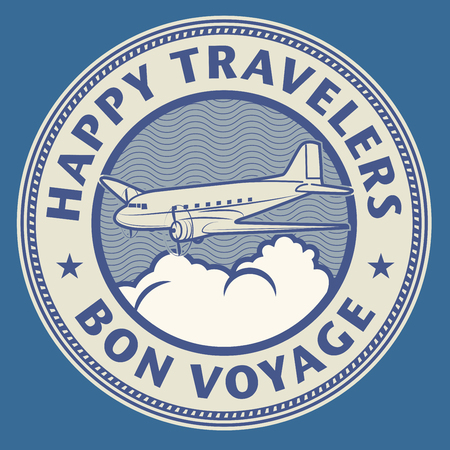 business flying: Air mail or travel stamp, with text Happy Travelers, Bon Voyage, vector illustration