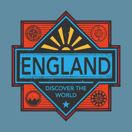 discover: Stamp or vintage emblem with text England, Discover the World, vector illustration