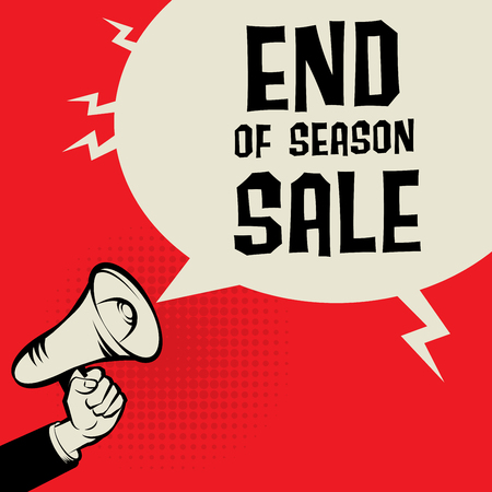 os: Megaphone Hand, business concept with text End os Season Sale, vector illustration Illustration