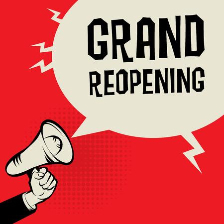signos de precaucion: Megáfono de mano, concepto de negocio con el texto Gran Reapertura, ilustración vectorial