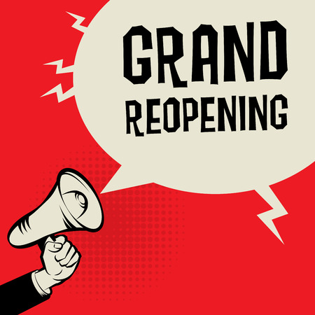 important: Megaphone Hand, business concept with text Grand Reopening, vector illustration