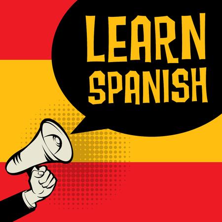 Megáfono de mano, concepto de negocio con el texto Aprender español, ilustración vectorial