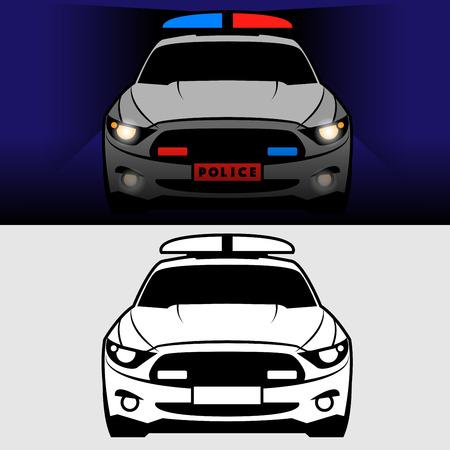 Polizeiwagen mit grellen Lichtern, Vektor-Illustration Vektorgrafik