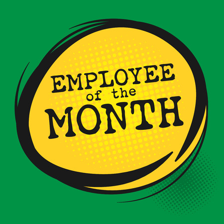 month: Employee of the Month label, vector illustration