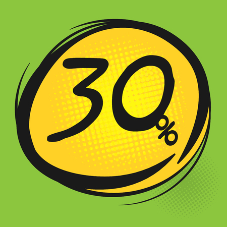 thirty percent off: Discount label, vector illustration Illustration