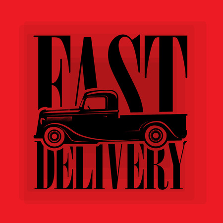Retro Hot Rod poster wit text Fast Delivery, vector illustration