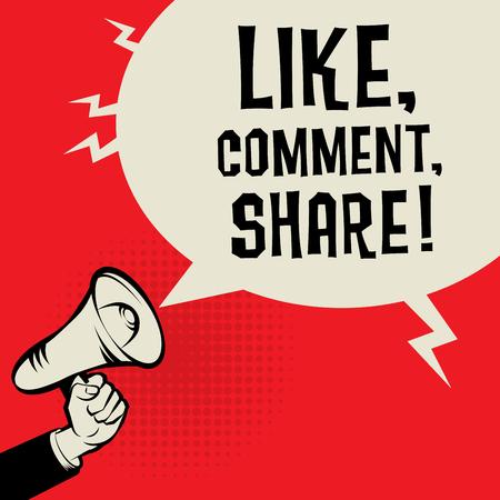 alerta: Meg�fono de mano, concepto de negocio con el texto igual, comentar, compartir, ilustraci�n vectorial