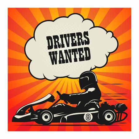 Karting Go Cart ras poster, vector illustratie