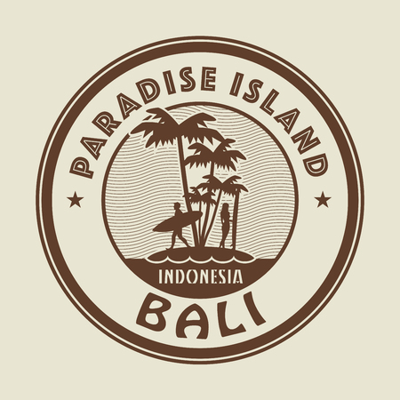 arrival: Stamp with the palm, island and words Paradise Island, Bali, written inside, vector illustration Illustration