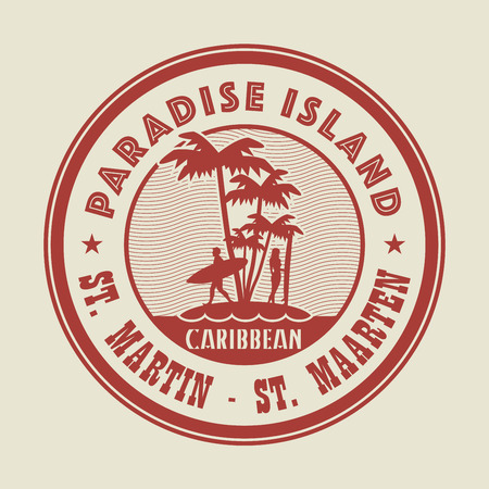 martin: Stamp with the palm, island and words Paradise Island, St. Martin - St. Maarten, written inside, vector illustration Illustration