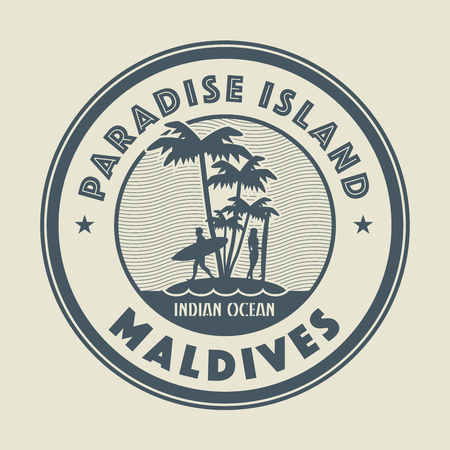 maldives island: Stamp with the palm, island and words Paradise Island, Maldives, written inside, vector illustration