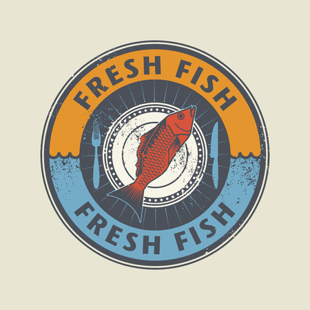 fresh: Color stamp with fish shape and the word Fresh fish written inside, vector illustration