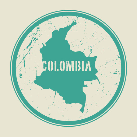 identifier: Stamp with the name and map of Colombia, vector illustration
