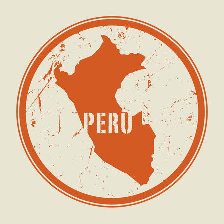 Stamp with the name and map of Peru, vector illustration