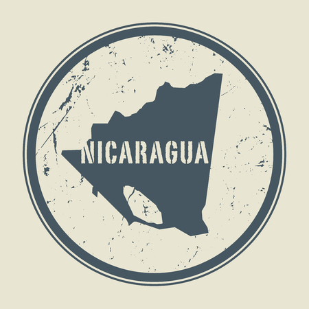postal: Stamp with the name and map of Nicaragua, vector illustration
