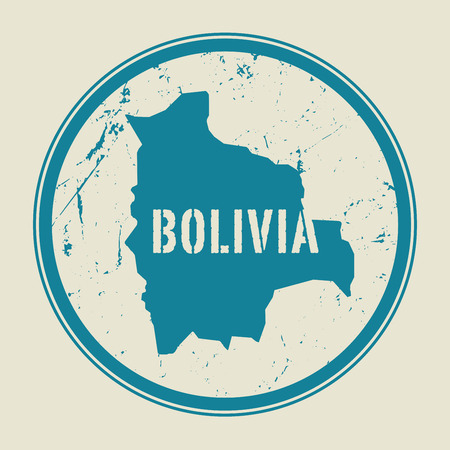 mapa de bolivia: Stamp with the name and map of Bolivia, vector illustration Vectores