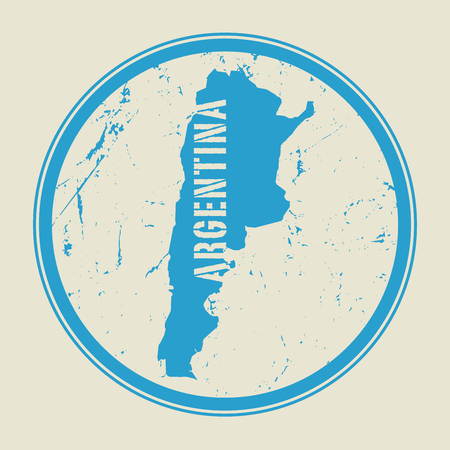 argentina map: Stamp with the name and map of Argentina, vector illustration