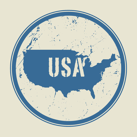 identifier: Stamp with the name and map of United States of America, vector illustration Illustration