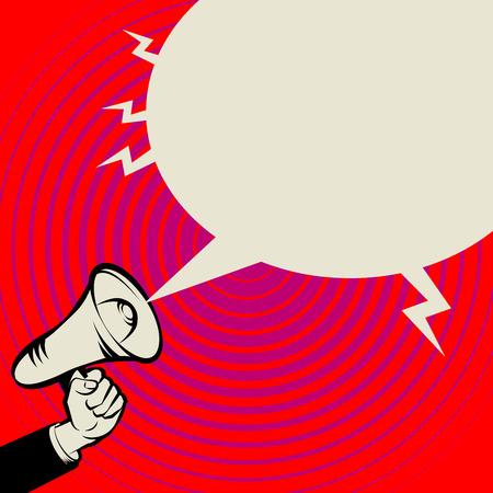 Megaphone Hand, business concept, vector illustration Vettoriali