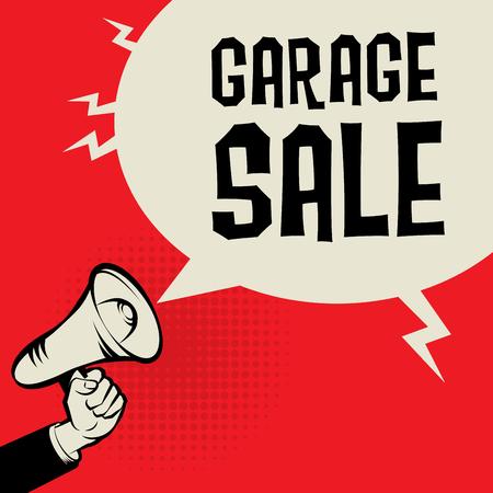 Megaphone Hand, business concept with text Garage Sale, vector illustration Illustration