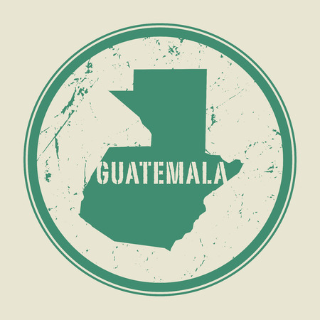 postal: Stamp with the name and map of Guatemala, vector illustration