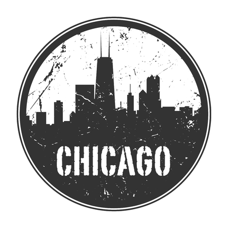 Grunge rubber stamp or emblem with name of Illinois, Chicago, vector illustration
