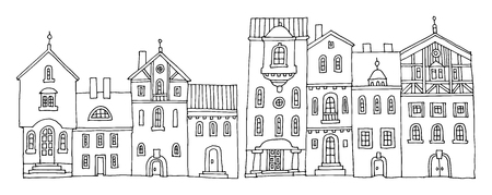european: Cartoon hand drawing houses Illustration