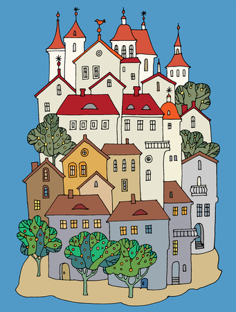 Cartoon color castle, hand drawing
