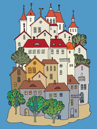 château de couleur de bande dessinée, dessin à la main