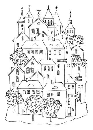 european alps: Cartoon castle hand drawing Illustration