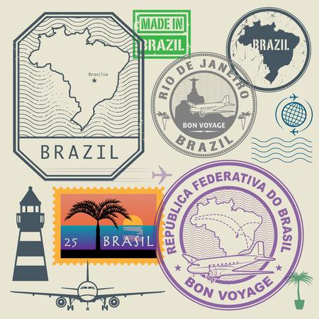 Travel stamps set, Brazil, vector illustration Vectores