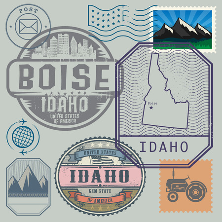 identifier: Stamp set with the name and map of Idaho, United States, vector illustration Illustration