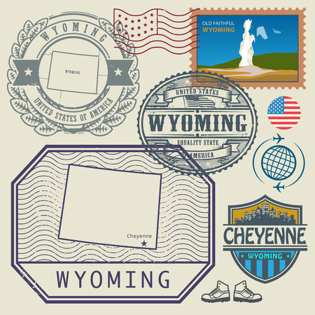 poststempel: Stempel-Set mit dem Namen und Karte von Wyoming, USA, Vektor-Illustration