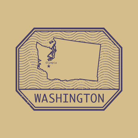 stamp passport: Stamp with the name and map of Washington, United States, vector illustration