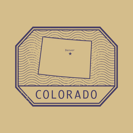denver colorado: Stamp with the name and map of Colorado, United States, vector illustration Illustration