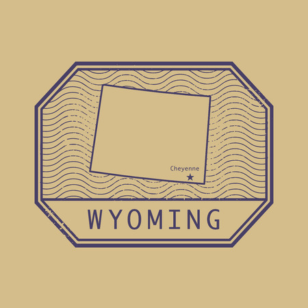 cheyenne: Stamp with the name and map of Wyoming, United States, vector illustration