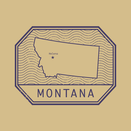 identifier: Stamp with the name and map of Montana, United States, vector illustration