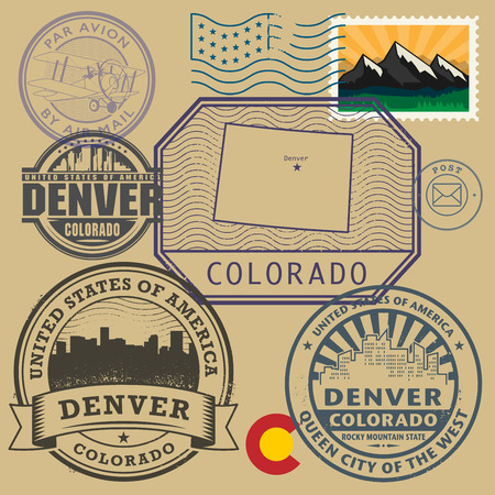colorado mountains: Stamp set with the name and map of Colorado, United States, vector illustration