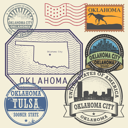 Stamp set with the name and map of Oklahoma, United States, vector illustration Illustration