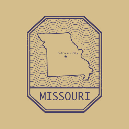 jefferson: Stamp with the name and map of Missouri, United States, vector illustration Illustration