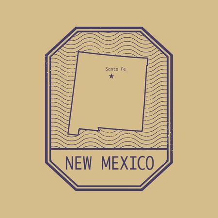 poststempel: Stempel mit dem Namen und der Karte von New Mexico, USA, Vektor-Illustration