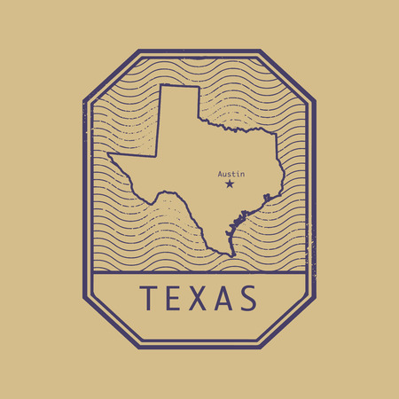 Stamp with the name and map of Texas, United States, vector illustration