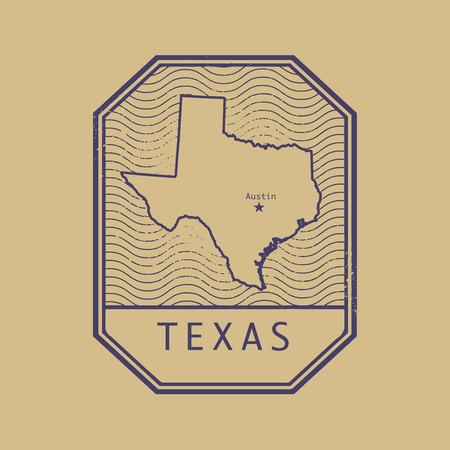 Stempel met de naam en de kaart van Texas, Verenigde Staten, vector illustratie Stock Illustratie