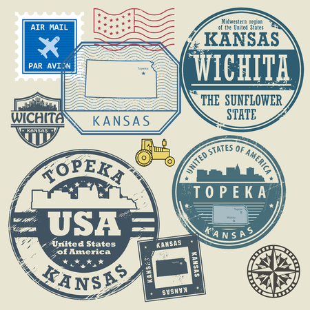 Stamp set with the name and map of Kansas, United States, vector illustration Illustration