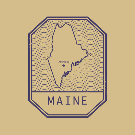 vacation map: Stamp with the name and map of Maine, United States, vector illustration