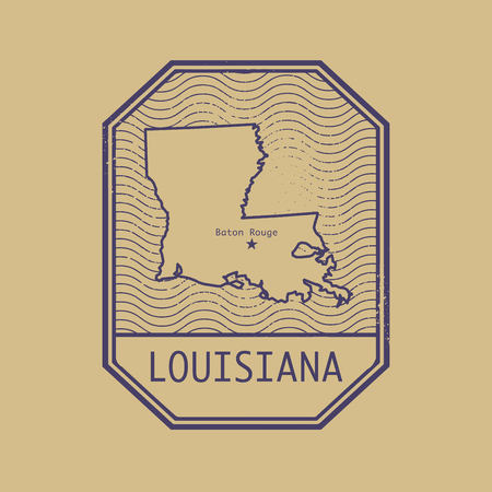 rouge: Stamp with the name and map of Louisiana, United States, vector illustration Illustration