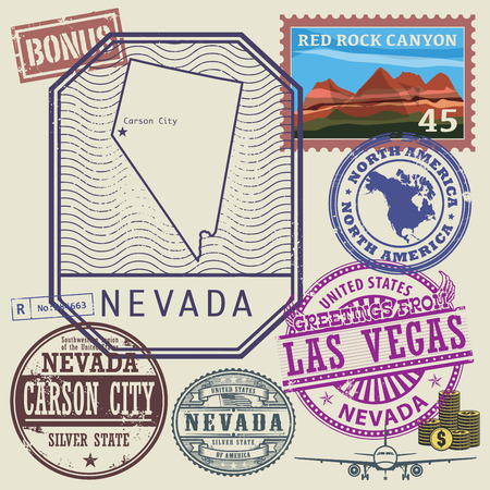 nevada: Stamp set with the name and map of Nevada, United States, vector illustration