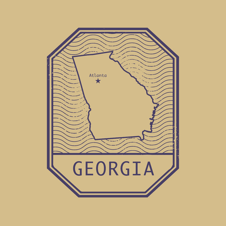 atlanta tourism: Stamp with the name and map of Georgia, United States, vector illustration