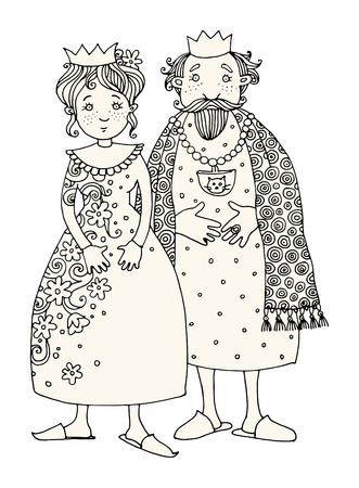 royal family: King and Queen. Hand drawn illustration Illustration