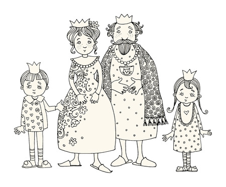 funny love: King and Queen with kids. Hand drawn illustration Illustration